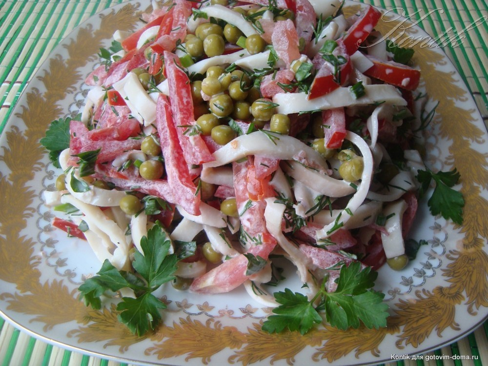 Салат с кальмаром простой рецепт с