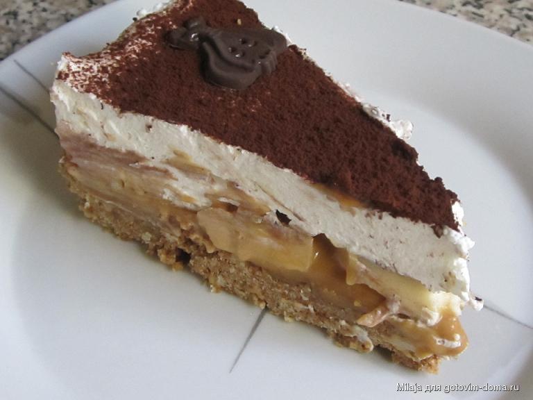 Банановый с печеньем торт с фото без выпечки