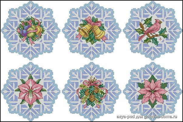 Снежинки из бисера и стекляруса прекрасно украсят каждый дом, .  Схемы вышивки.