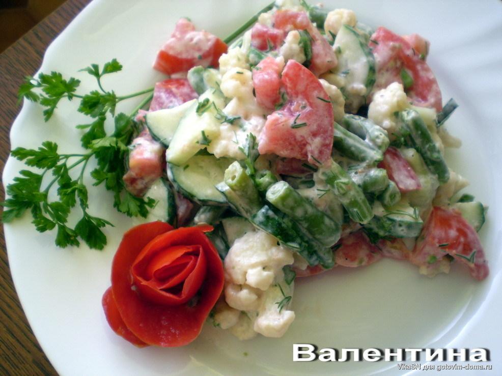 Салат с огурцами и помидорами на сметане калорийность