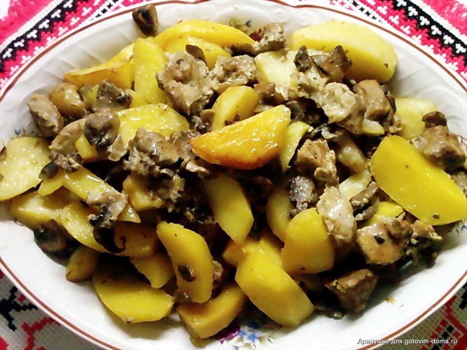 Картошка со свининой и грибами в духовке