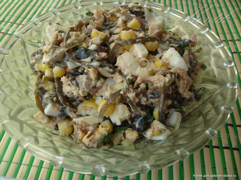 Салат из морской капусты с тунцом