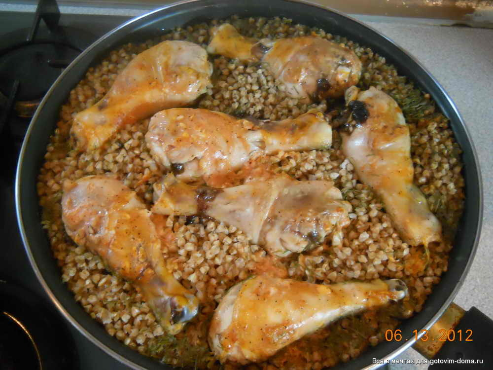 Гречка с курицей на сковороде рецепт с пошагово