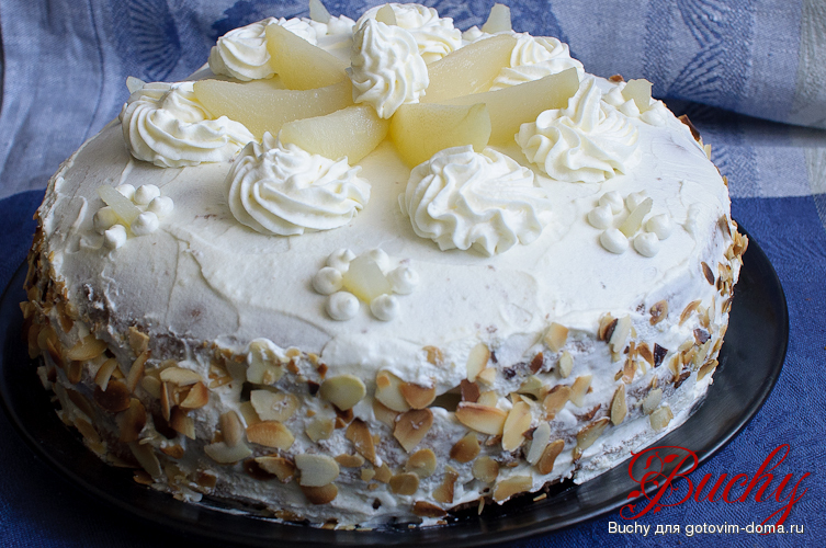 Вкусный торт с кремом из взбитых сливок