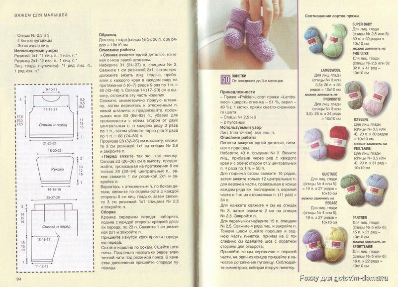 Вязание спицами до 3 лет детям пинетки