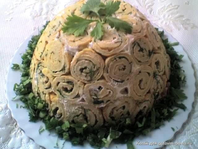 Салаты из блинчиков рецепты