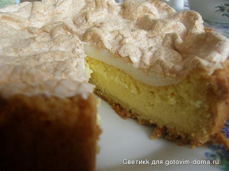 Творожный пирог с безе рецепт