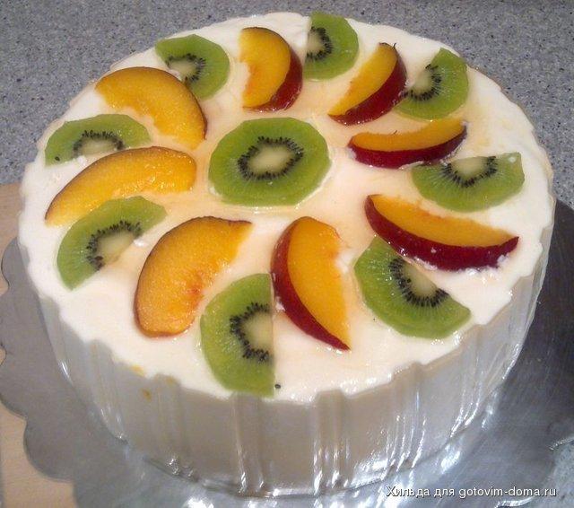 Рецепт творожного торта с фруктами без выпечки
