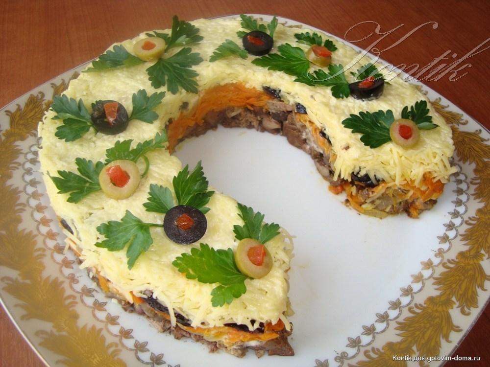рецепты салатов с печенью и черносливом