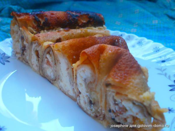 Блинный торт рецепт с творогом пошагово