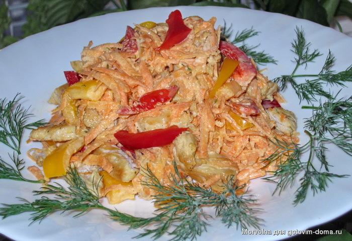 Салат из курицы грибов и морковки по корейски