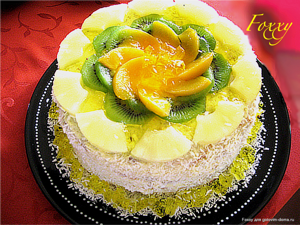 Бисквитный торт с фруктами фото