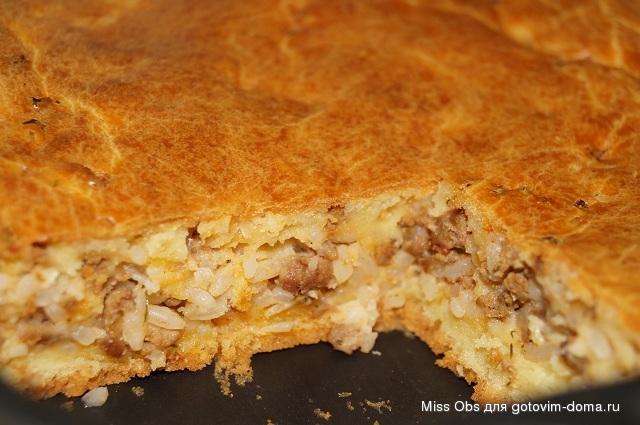 Пирог с рисом и фаршем фото