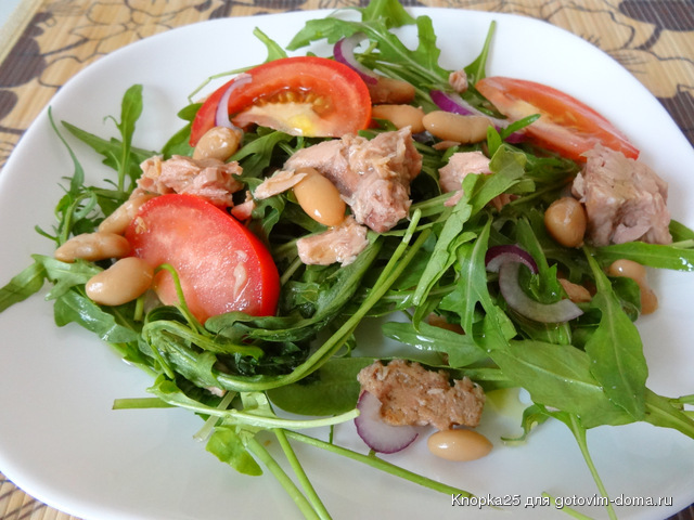 салат из руколы с тунцом рецепт