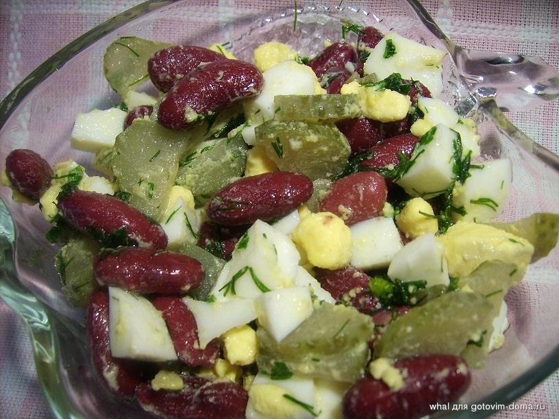 салат из фасоли огурцов и яиц рецепт