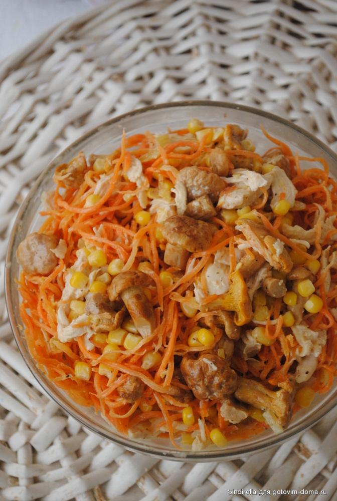 Салат из куриной грудки шампиньонов и кукурузы