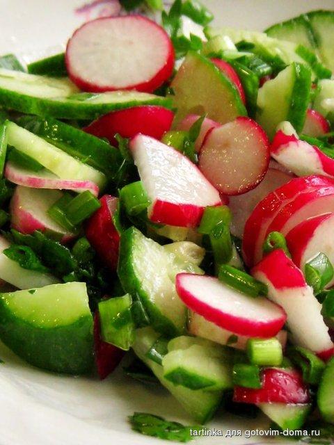 Салат из редиски и огурца и помидора