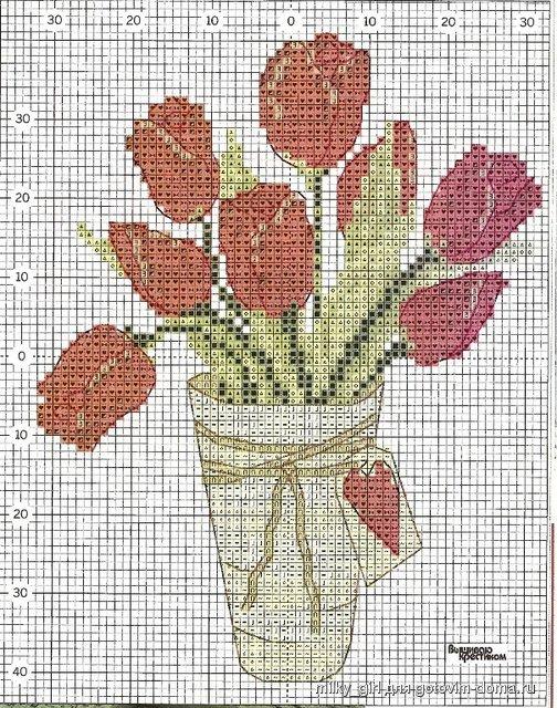 Ваза с тюльпанами вышивка 16