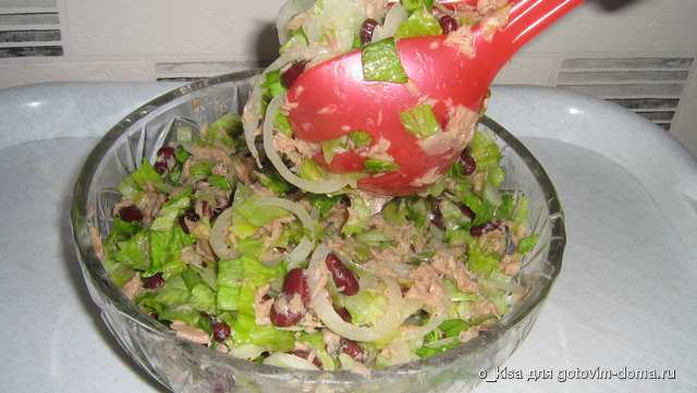 Рецепт салата из тунца и красной фасоли