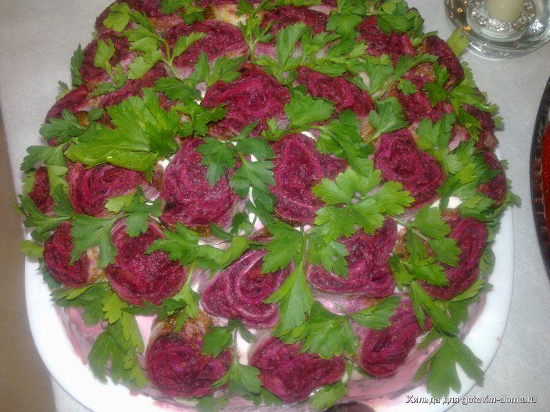 Рецепт с фото салат розы из сельди