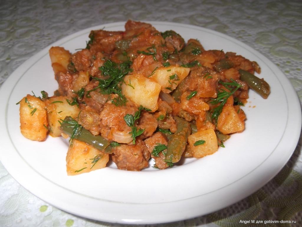 Картошка с фасолью в томатном соусе