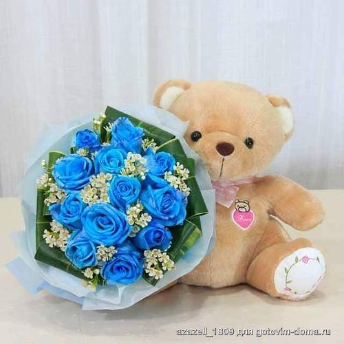 Открытки с днем рождения голубые розы