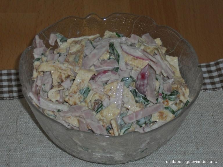 рецепты салатов с яичными блинчиками и ветчиной