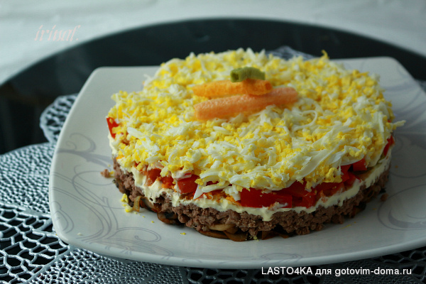 рецепты салатов из вареного языка