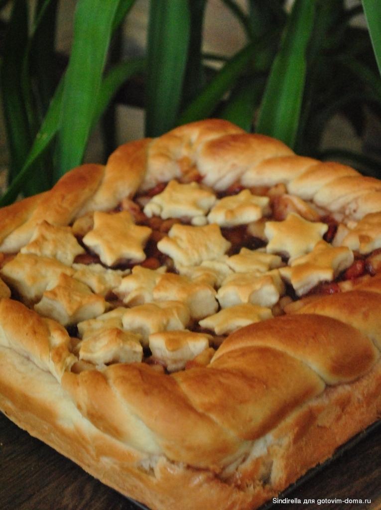 Пирог с яблоками из дрожжевого готового теста в духовке рецепт с