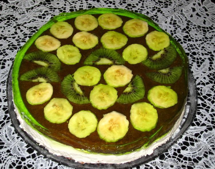 Как приготовить желейный торт с фруктами фото