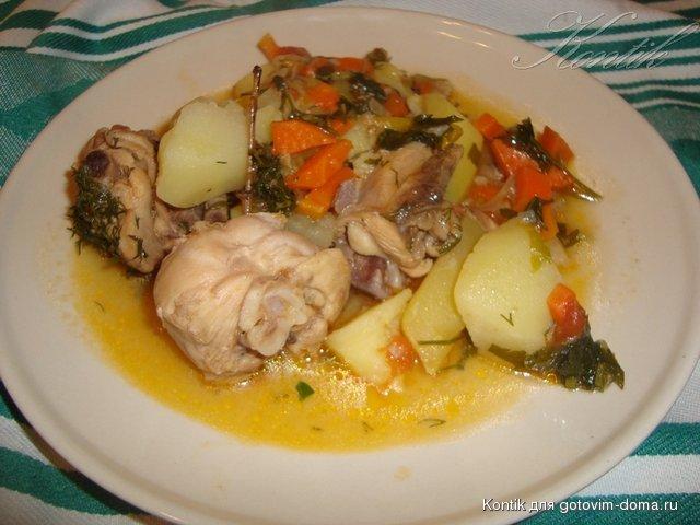 Курица тушеная с картошкой и овощами в мультиварке рецепты