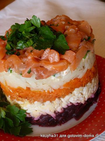 Салат семга на шубке с