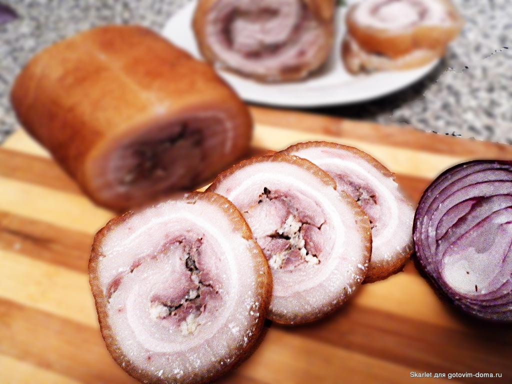 как приготовить рулет из сала и мяса с фото
