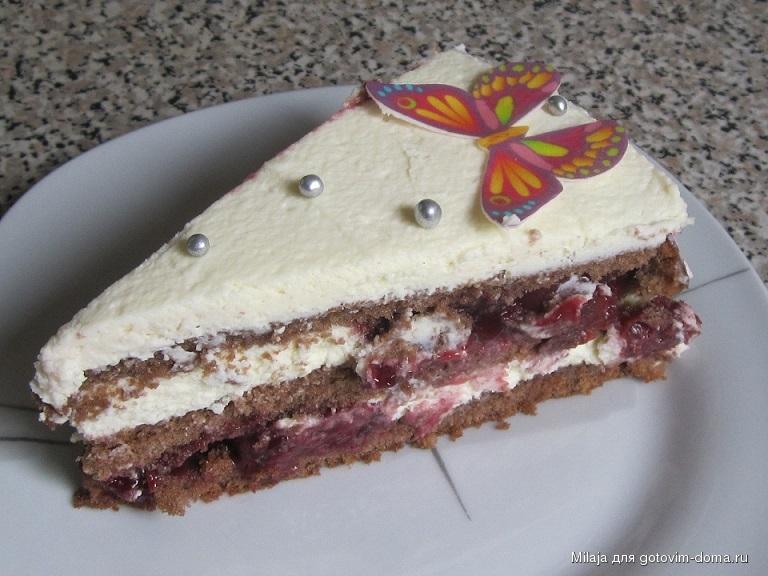 Торт с маскарпоне и вишней рецепт пошагово