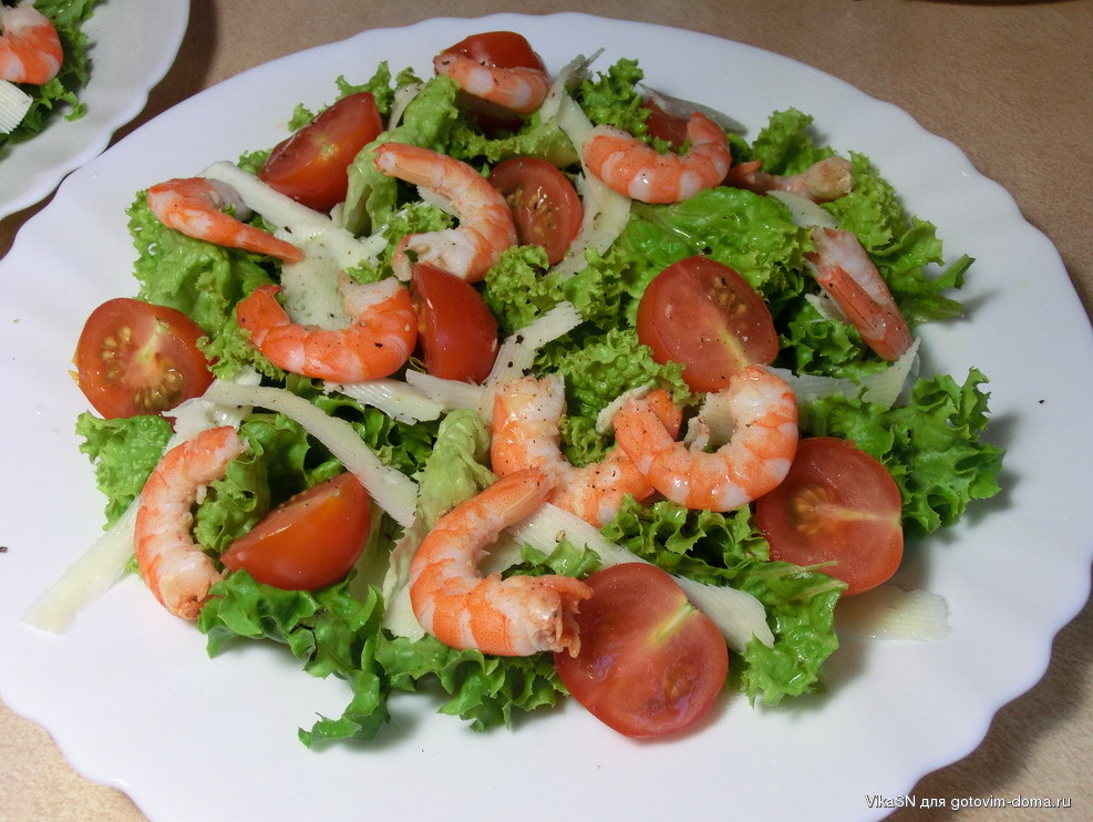 Цезарь с морепродуктами рецепт классический с фото