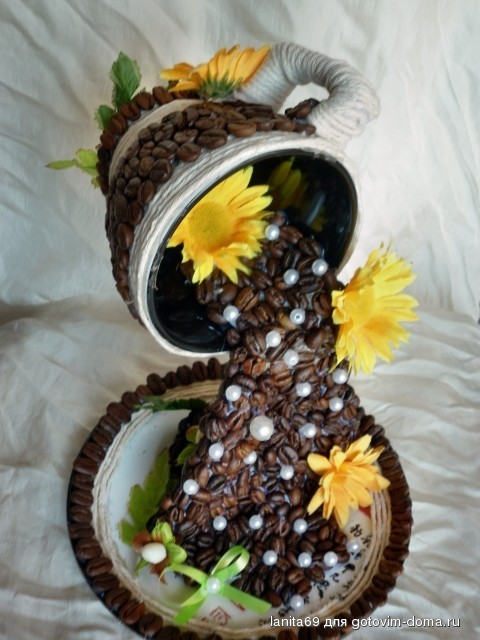 Парящие чашки из кофейных зерен своими руками
