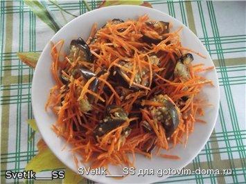 Морковка по корейски с баклажанами