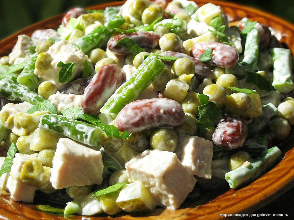 рецепты салатов из фасоли с крабовыми палочками