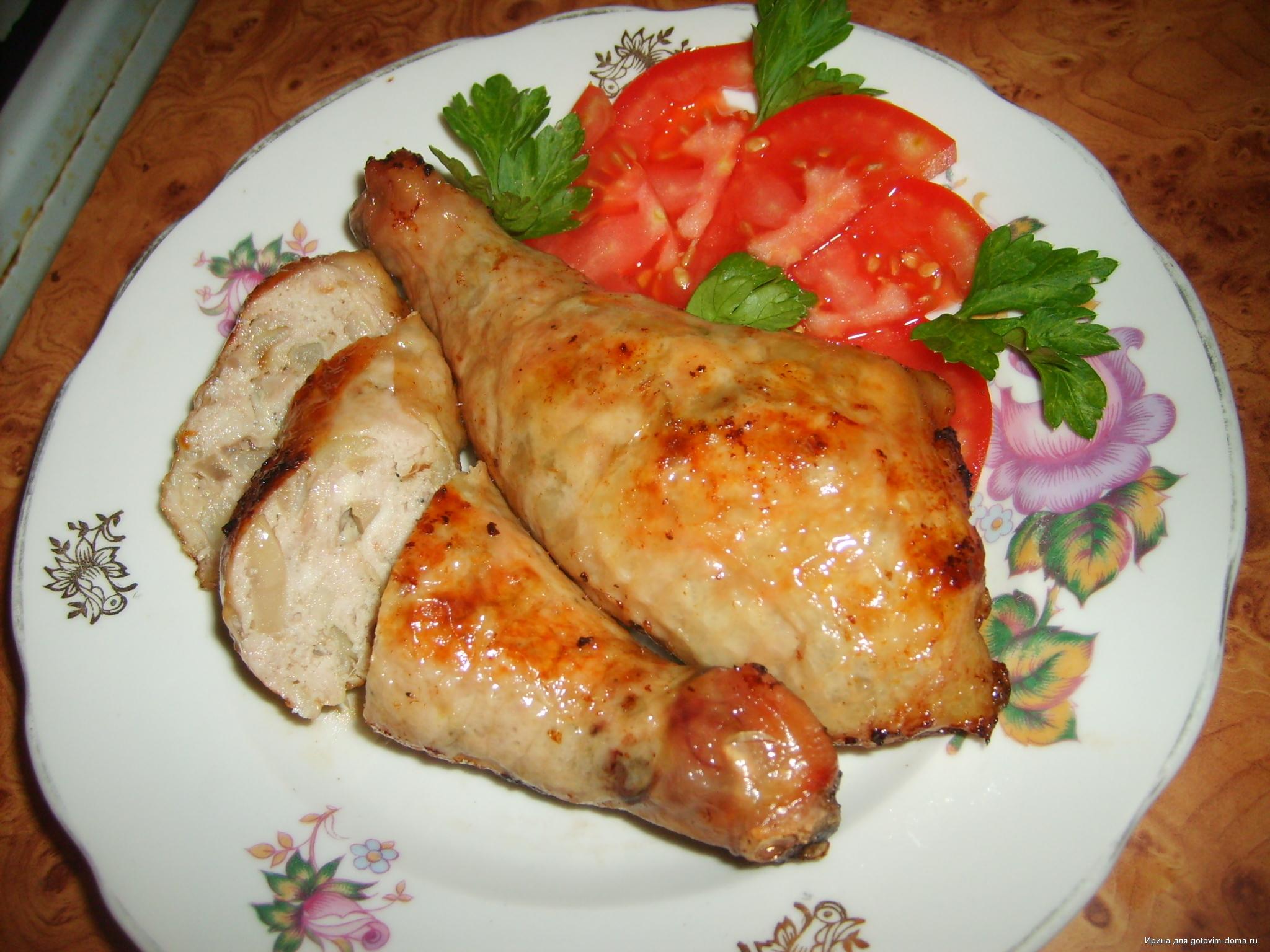 Румяные фаршированные окорочка - простой и вкусный рецепт с пошаговыми фото