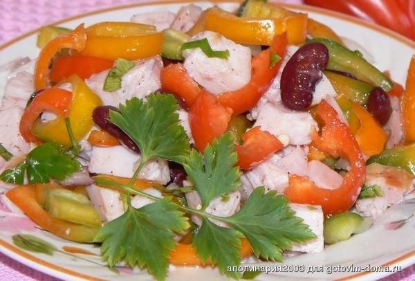 Салат с перцем фасолью курицей и