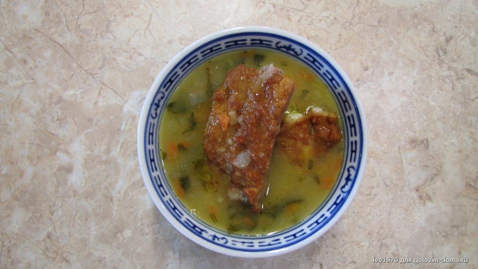 Гороховый суп с копчеными ребрышками без замачивания