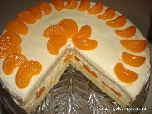 Торт с мандаринами с фото