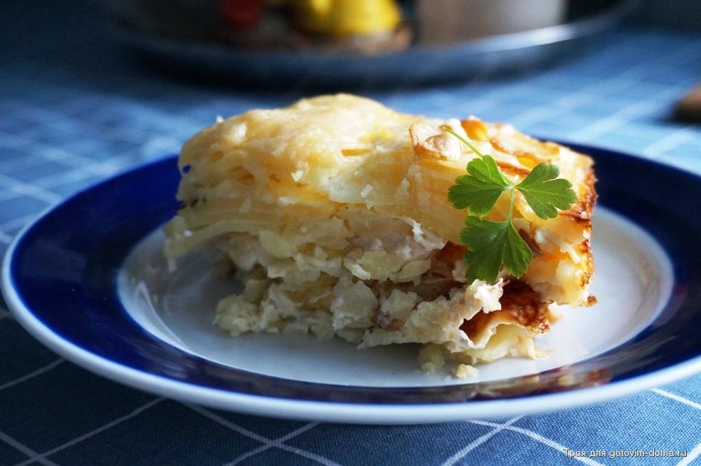 Рецепт картофельной запеканки с ветчиной