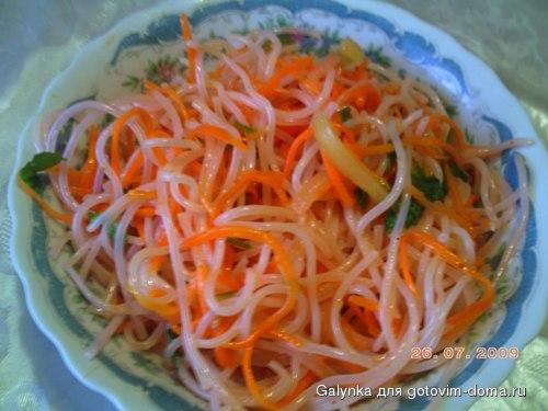 рецепты салатов с фунчозой и корейской морковью
