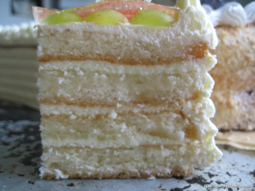Нежный бисквитный торт с фруктами