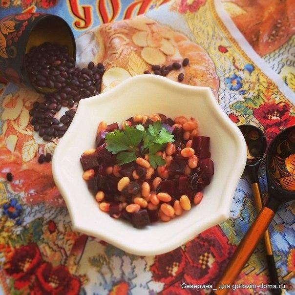 С фасолью • салаты овощные грибные