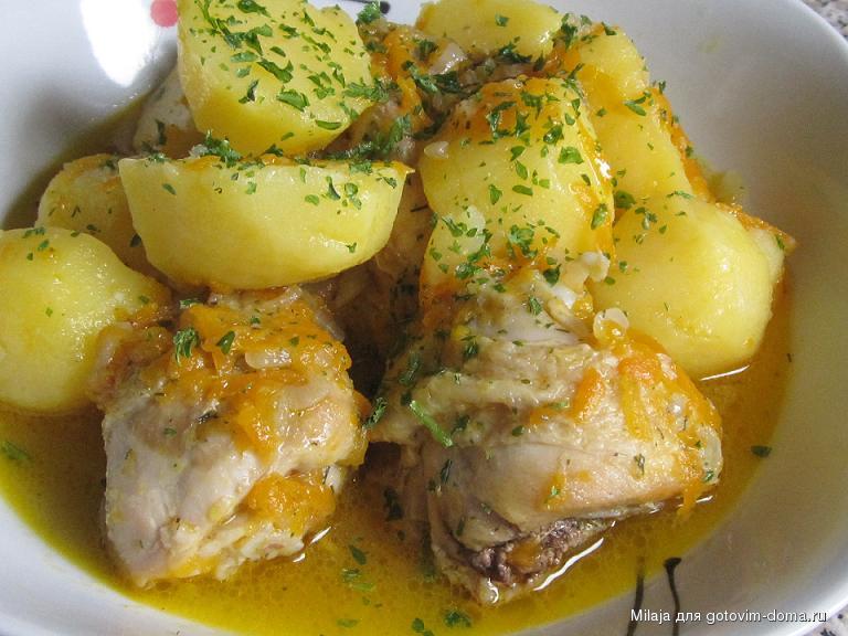 Тушеная курица с картошкой в духовке рецепт с пошагово