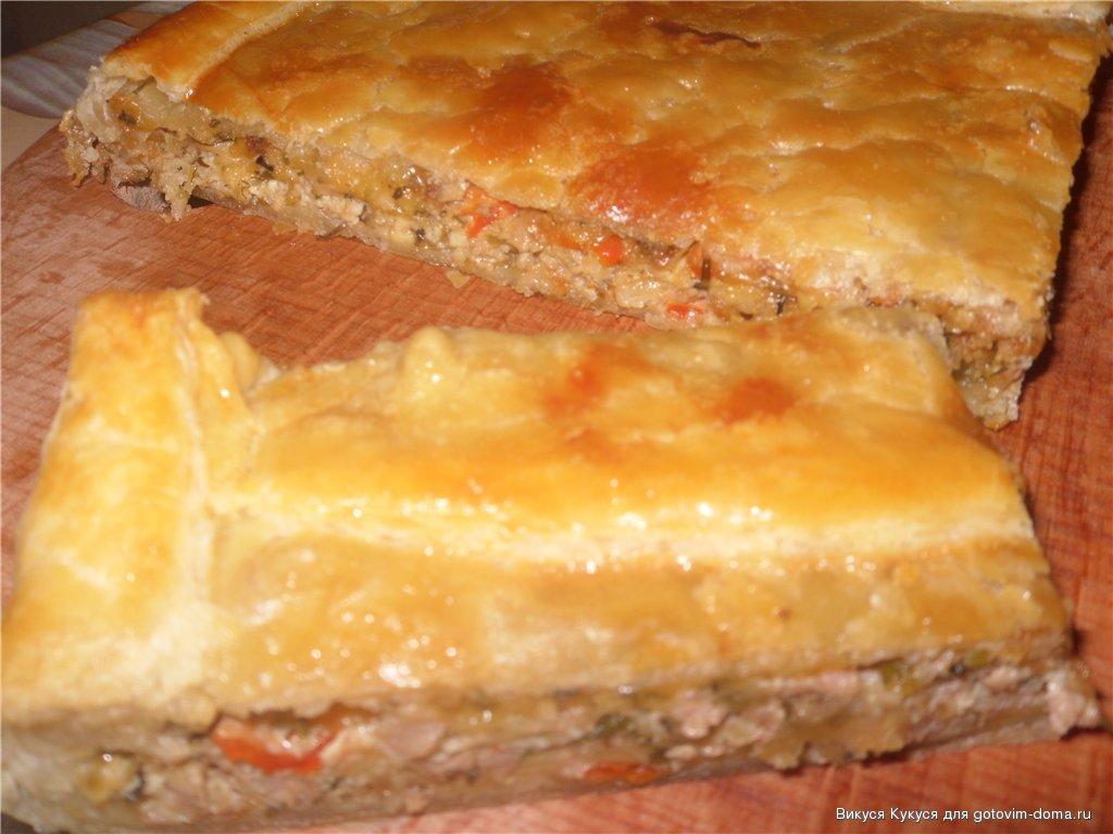 Мясной пирог из слоеного теста с фаршем и картошкой рецепт с в