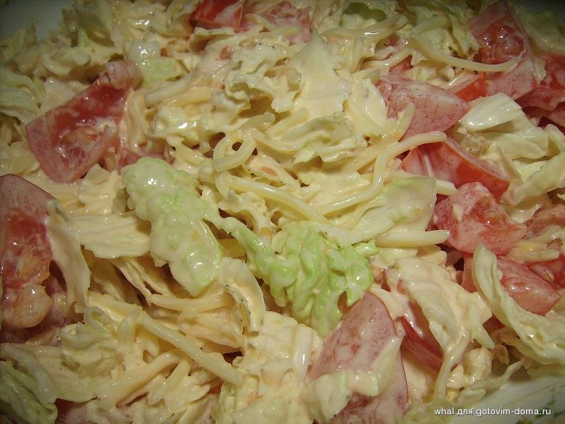 салат с помидорами и капустой и майонезом