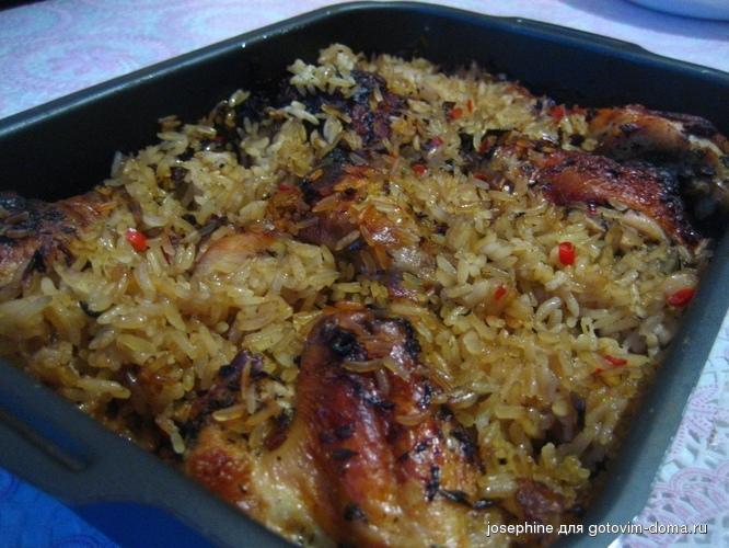 Курица в духовке с овощами и рисом рецепт с пошагово
